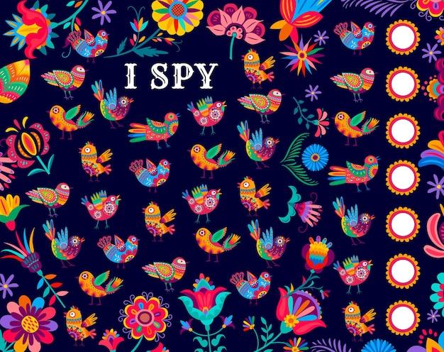 Ik bespioneer kinderspel met mexicaanse alebrije-vogels. kinderen raadsel met mexicaanse volksfantasie vogels en bloemen. kinderpuzzelspel met rekenactiviteit, kinderquiz of rekenwerkblad met teltaak