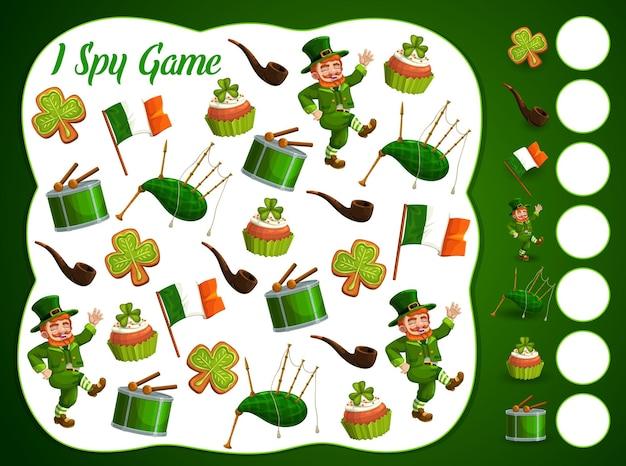 Ik bespioneer kinderspel met st patrick-dagitems, educatieve puzzel