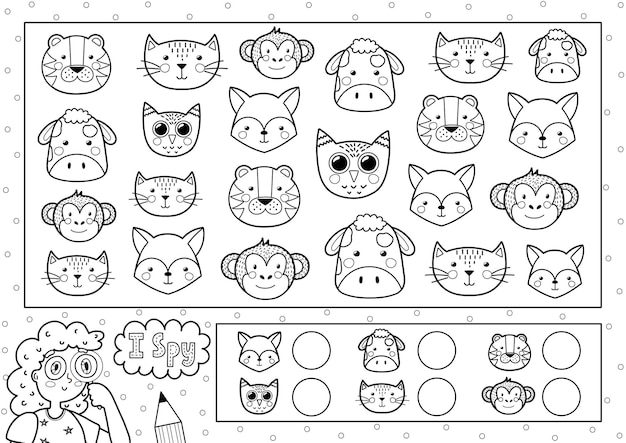 Ik bespioneer spel kleurplaat voor kinderen zoek en tel schattige dieren zoek hetzelfde object zwart-wit puzzel hoeveel elementen zijn er