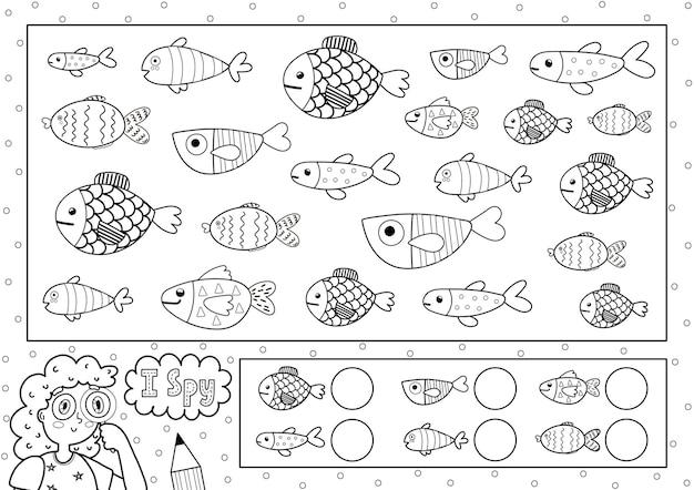 Ik bespioneer spel kleurplaat voor kinderen zoek en tel schattige vissen zoek hetzelfde object zwart-wit puzzel zeeleven thema