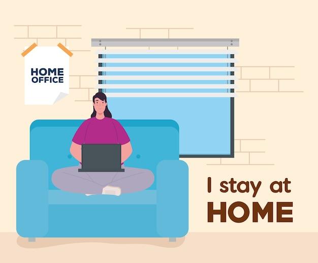 Ik blijf thuis, vrouw die in telewerken werkt, thuiskantoorconcept.