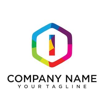 Ik brief logo pictogram zeshoek ontwerpsjabloon element
