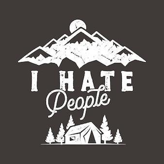 Ik haat mensen met mountain camping scene