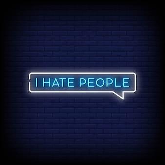 Ik haat mensen neon signs style text