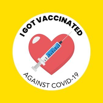 Ik heb een gevaccineerde banner gekregen. vector illustratie
