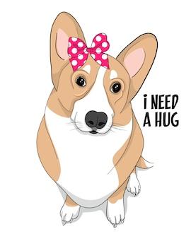 Ik heb een knuffel nodig, met de hand getekende schattige corgi-illustratie