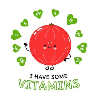 Ik heb een vitaminekaart met schattige vrolijke rode aalbessen