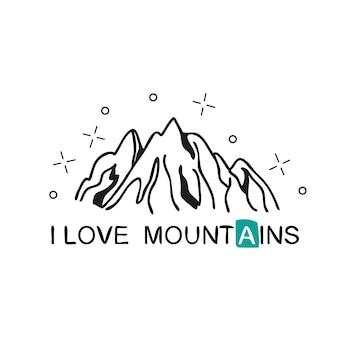 Ik hou van bergen. handgeschreven letters voor kaarten, posters en t-shirts. buiten vectorillustratie met bergrug en handgetekende tekst