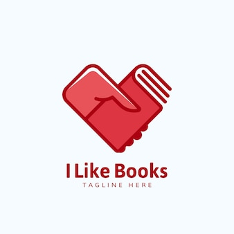 Ik hou van boeken, embleem of logo sjabloon. hand met een boek in de vorm van een hart.