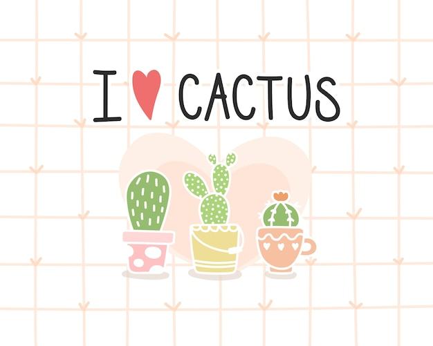 Ik hou van cactus achtergrond.