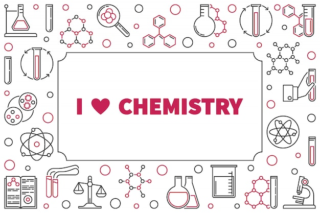 Ik hou van chemie frame met chemische overzicht pictogrammen