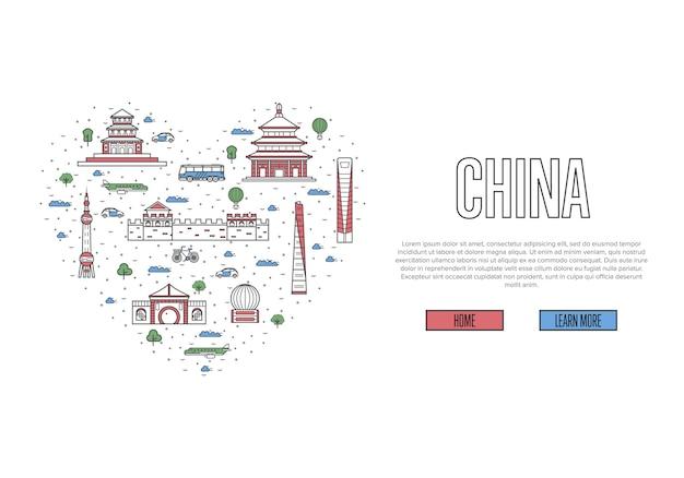 Ik hou van china-sjabloon in lineaire stijl