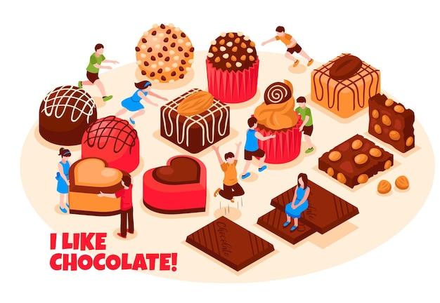 Ik hou van chocolade concept met een breed scala van chocolade snoep gebak en repen isometrisch
