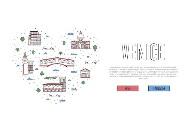 Ik hou van de webpagina van venetië in lineaire stijl