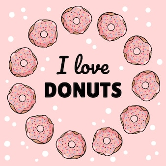 Ik hou van donuts vierkante sjabloon smakelijke briefkaart