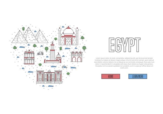 Ik hou van egypte sjabloon in lineaire stijl