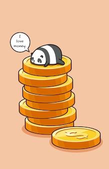 Ik hou van geld. panda bovenop munten.