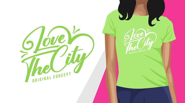 Ik hou van het t-shirtontwerp van de stadstypografie