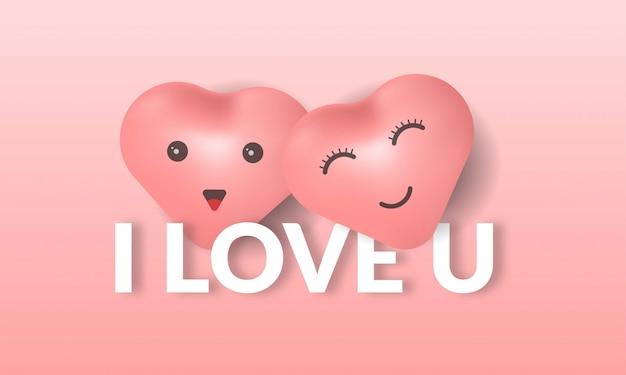 Ik hou van je achtergrond met liefde illustratie en tekst op roze achtergrond,