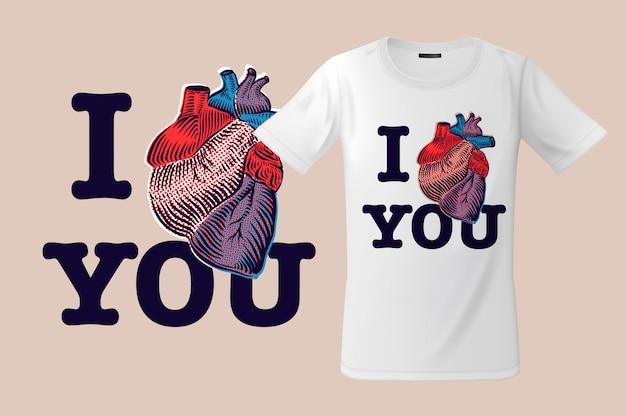 Ik hou van je. afdrukken op t-shirts, sweatshirts en souvenirs, hoesjes voor mobiele telefoons, illustratie.
