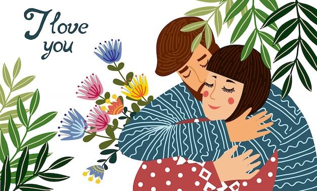 Ik hou van je. een man knuffelt een vrouw en houdt een geschenk vast - een boeket met bloemen. schattig