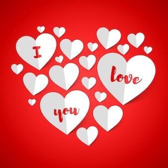 Ik hou van je. happy valentine's day wenskaart ontwerp