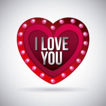 Ik hou van je hart gloeiende lichten boord