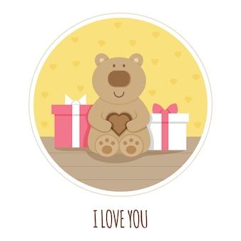 Ik hou van je kaart. knuffelbeer. vector illustratie.