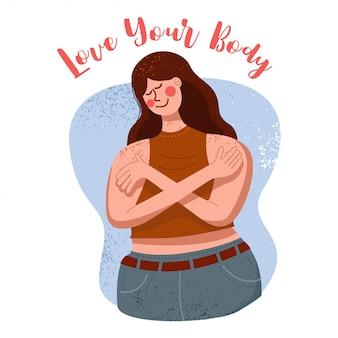 Ik hou van je lichaam concept, positiviteit van het lichaam, vrouw knuffelen zichzelf, illustratie