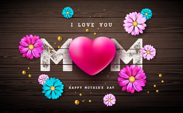 Ik hou van je mama. gelukkig moederdag wenskaart ontwerp met hart en parel op vintage houten achtergrond.