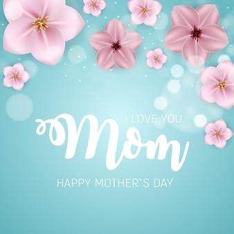 Ik hou van je mama. gelukkige moederdag leuke achtergrond met bloemen.