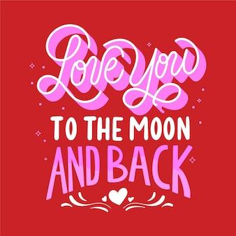 Ik hou van je tot de maan en terug belettering