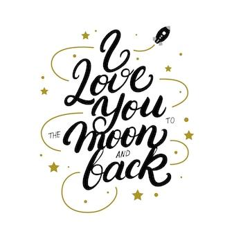 Ik hou van je tot de maan en terug handgeschreven belettering poster.