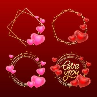 Ik hou van je. valentijn slogan. handgeschreven moderne borstel belettering en gouden frame met harten set