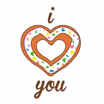 Ik hou van jou vectorillustratie van een wenskaart met een zoet hart donut