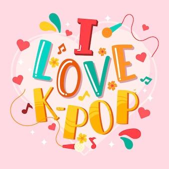 Ik hou van k-pop muziek belettering