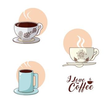 Ik hou van koffie collectie vector illustratie grafisch ontwerp