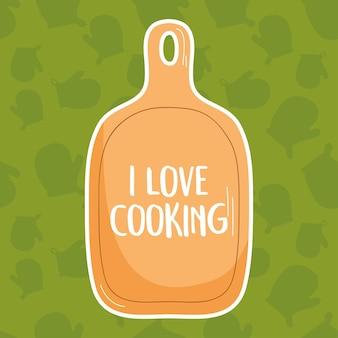 Ik hou van koken illustratie met snijplank