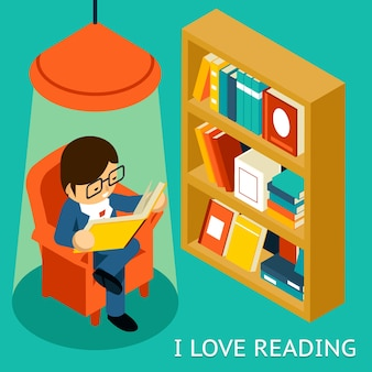 Ik hou van lezen, 3d isometrische illustratie. man zit in stoel leesboek in de buurt van boekenplank