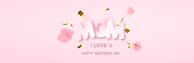 Ik hou van mama. moederdag banner met bloemen