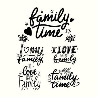 Ik hou van mijn familie belettering zinnen geïsoleerd op een witte achtergrond. familie tijd hand getrokken zwarte citaten, handgeschreven tshirt afdrukken. wenskaart monochroom ontwerpelementen. vectorillustratie, set