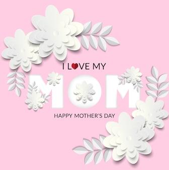 Ik hou van mijn moeder ontwerp met witte bloem en roze achtergrond.
