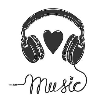Ik hou van muziek. hoofdtelefoon met tekst op witte achtergrond. element voor poster, t-shirt.