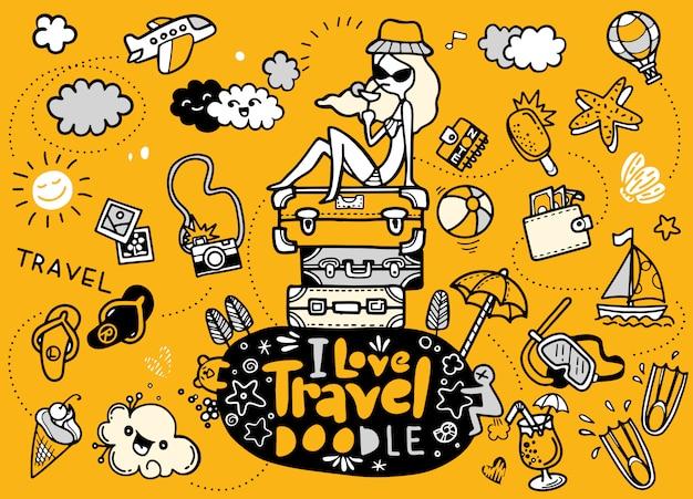 Ik hou van reizen in doodles-stijl