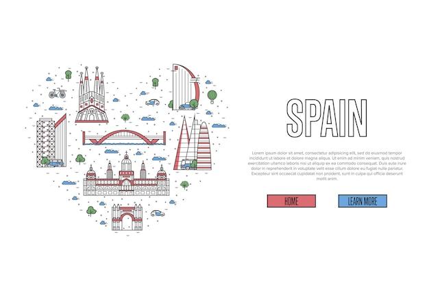 Ik hou van spanje sjabloon in lineaire stijl