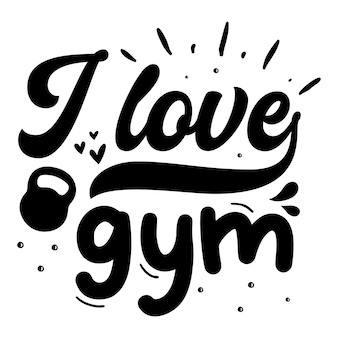 Ik hou van sportschool typografie premium vector design offertesjabloon