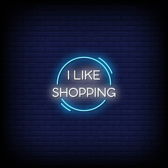 Ik hou van winkelen neonreclamestijltekst