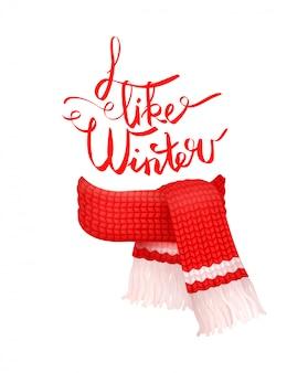 Ik hou van winter wenskaart gebreide wollen sjaal