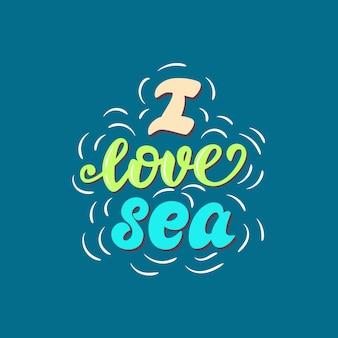 Ik hou van zee belettering poster.