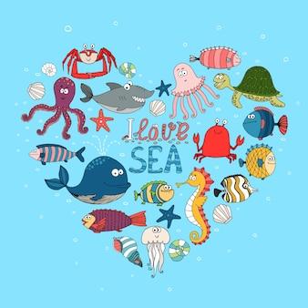 Ik hou van zee nautische illustratie